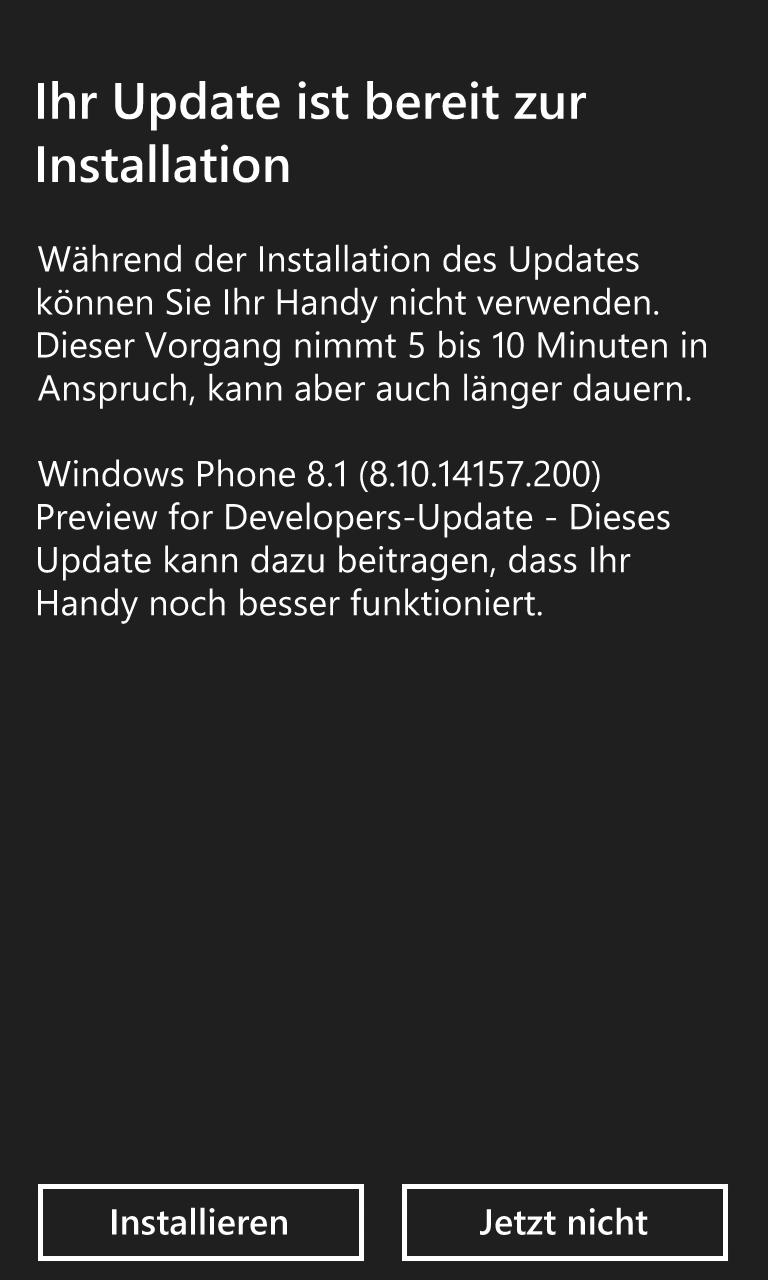Windows Phone 8.1 Developer-Preview - Installation des Updates