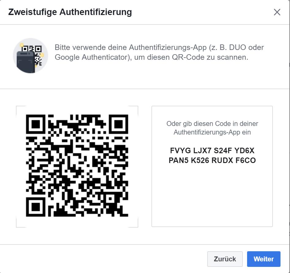 Facebook Code Eingeben